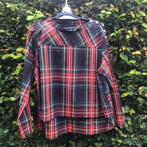 J Crew Funnelneck Shirt in Tartan with Buttons